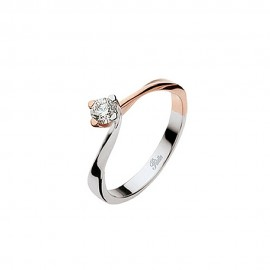 White and rose gold 18k 750/1000 diamond 0.18 Ct Solitaire woman ring