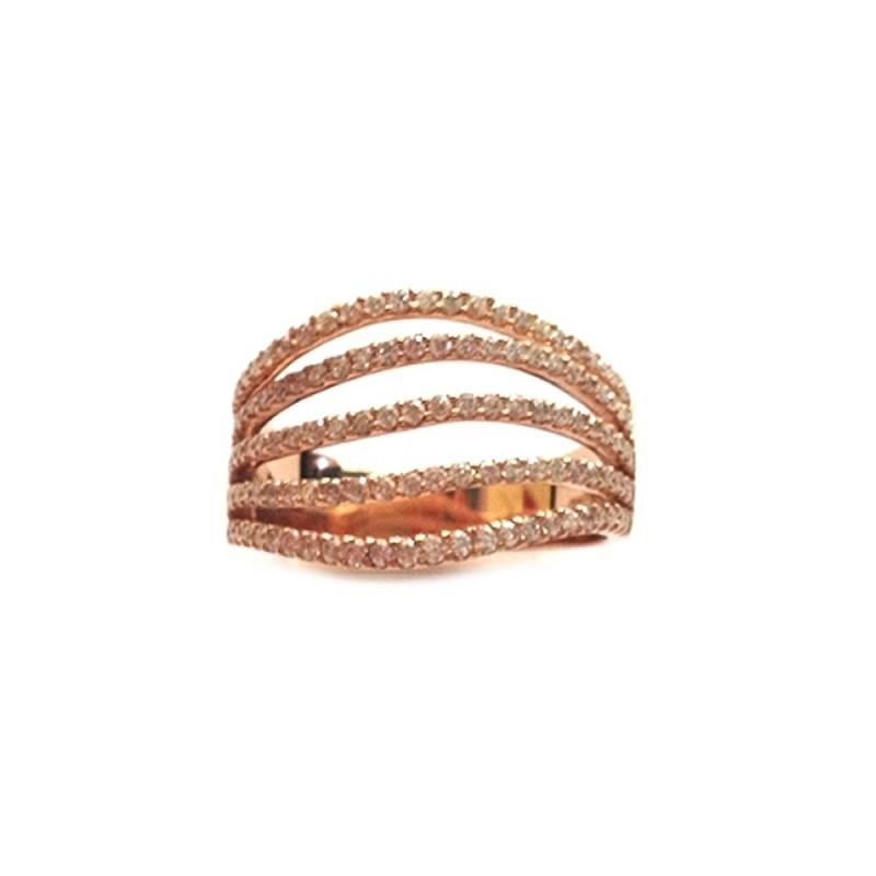 Anello da donna in oro rosa 18Kt 750/1000 con diamanti 0.75 Ct Gianni Carità
