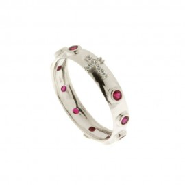 White gold 18k 750/1000 white and red cubic zirconia, Rosary ring