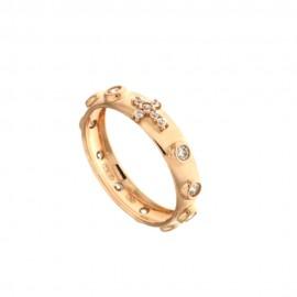 Anello rosario in oro rosa 18Kt - 750/1000 con zirconi bianchi da donna