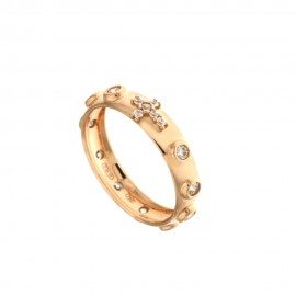 Rose gold 18k white cubic zirconia Rosary woman ring