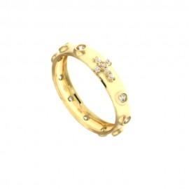 Anello rosario in oro giallo 18Kt - 750/1000 con zirconi bianchi da donna
