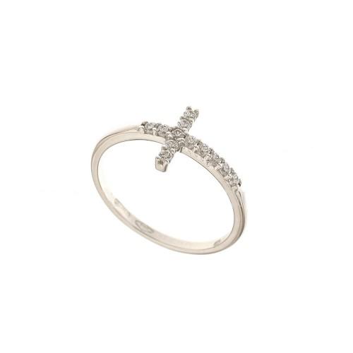 Anello con croce in oro bianco 18Kt 750/1000 con zirconi bianchi da donna