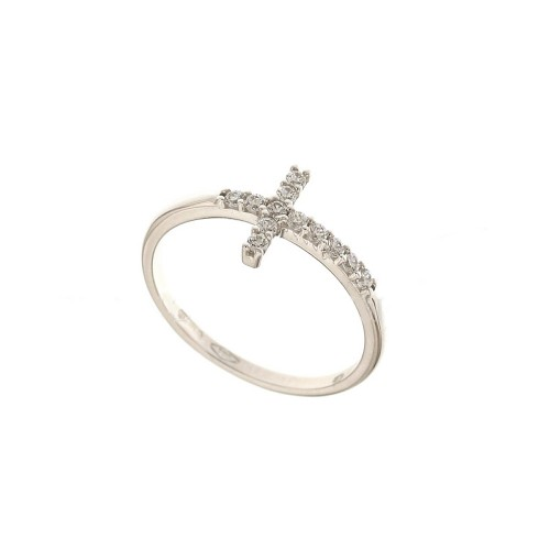 White gold 18k 750/1000 white cubic zirconia with cross woman ring