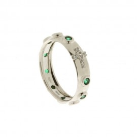 Anello rosario in oro bianco 18Kt - 750/1000 con zirconi verdi e bianchi da donna