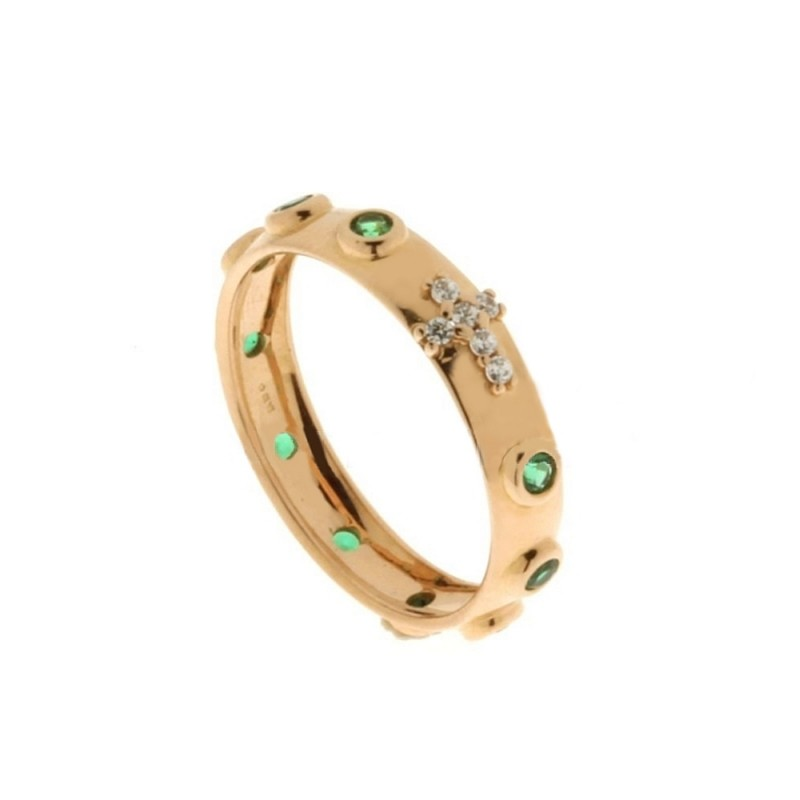 Rose gold 18k 750/1000 white and green cubic zirconia rosary woman ring