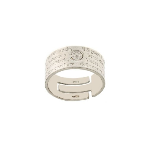 White gold 18k with Ave Maria engraved prayer ring