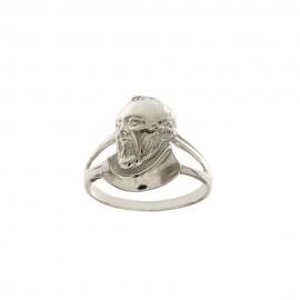 Anello in oro bianco 18Kt 750/1000 con il volto di Padre Pio in rilievo