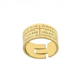 Anello in oro giallo 18Kt 750/1000 con preghiera Padre Nostro incisa