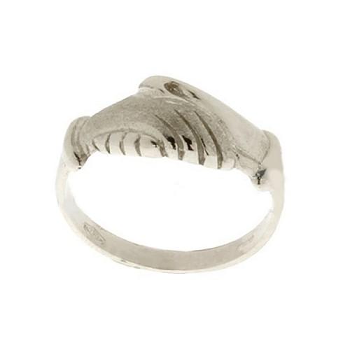 White gold 18K 750/1000 shiny and satin Santa Rita woman ring
