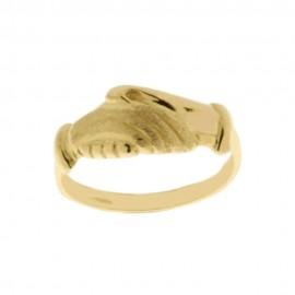 Anello di Santa Rita in oro giallo 18Kt 750/1000 lucido e satinato da donna