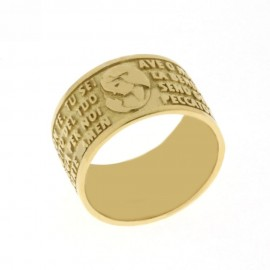 Yellow gold 18k 750/1000 Ave Maria elevation prayer unisex ring