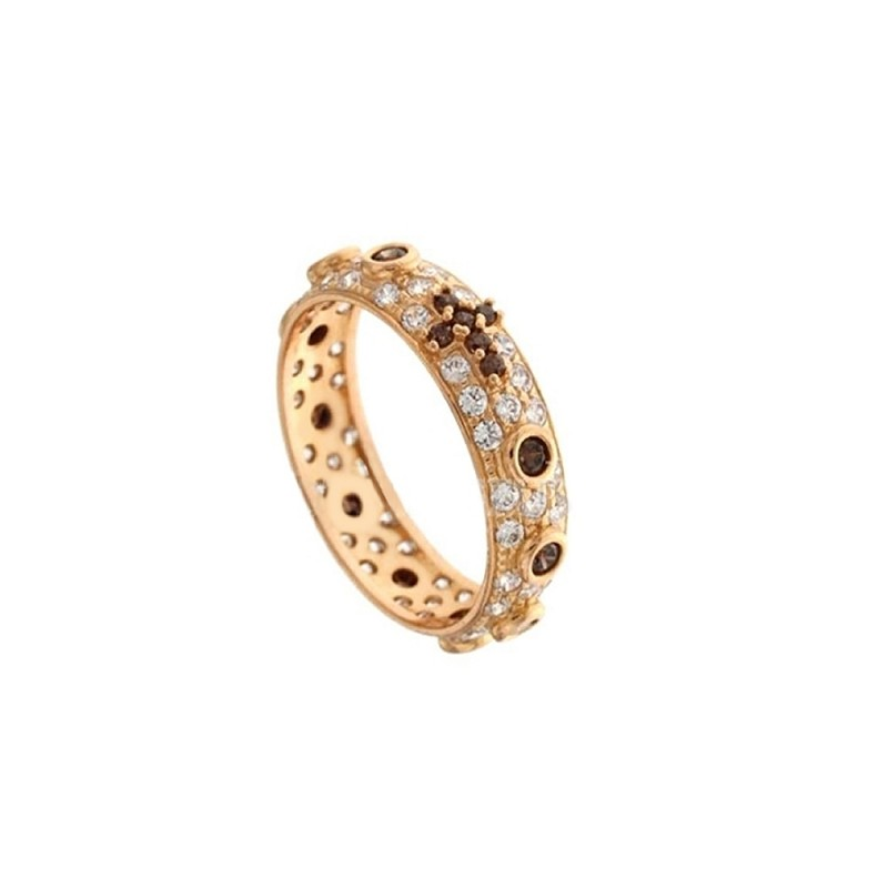 Rose gold 18k white and champagne cubic zirconia rosary woman ring