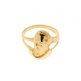 Yellow gold 18k 750/1000 with Padre Pio shiny ring