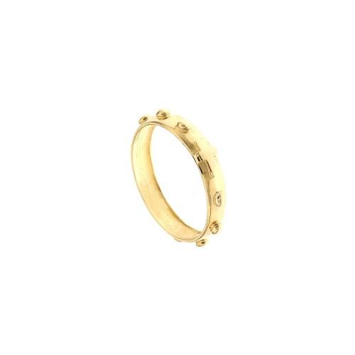 Anello rosario in oro giallo 18 Kt 750/1000 Larghezza fascia 4mm