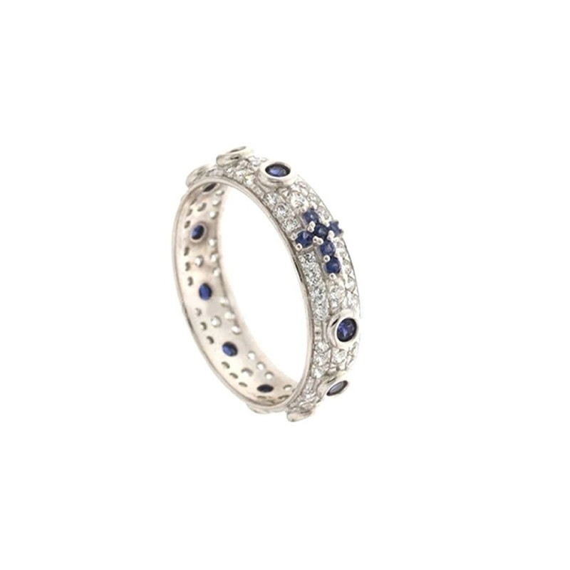 White gold 18k white and blue cubic zirconia rosary woman ring