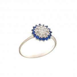 White gold 18Kt 750/1000 with colored cubic zirconia Cocktail woman ring