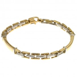 Yellow and white gold 18k 750/1000 Solid gold chain shiny man bracelet