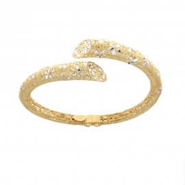 Yellow and white gold 18k 750/1000 openworked rigid woman bangle