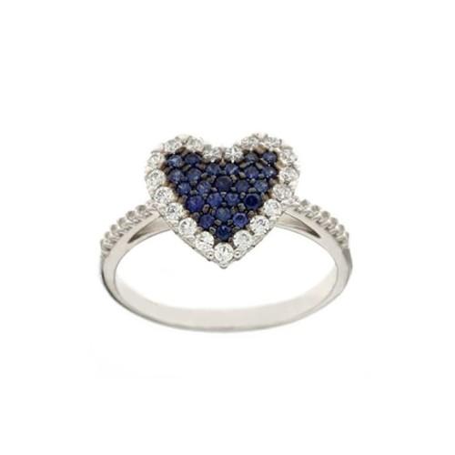 Anello in oro bianco 18 Kt con cuore e zirconi blu e bianchi da donna