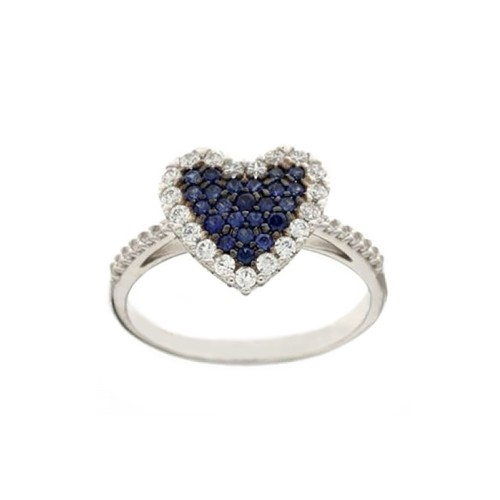 White gold 18k Heart with blue and white cubic zirconia woman ring