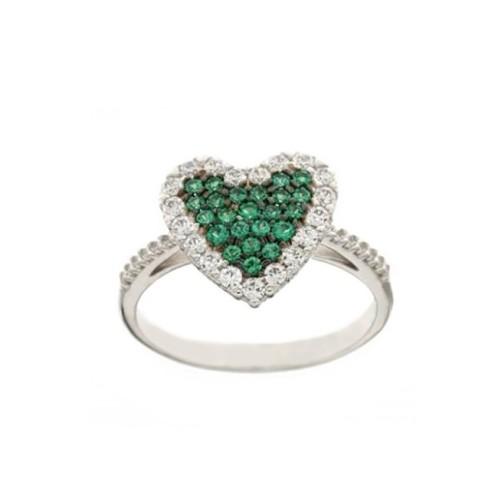 Anello in oro bianco 18 Kt con cuore e zirconi verdi e bianchi da donna