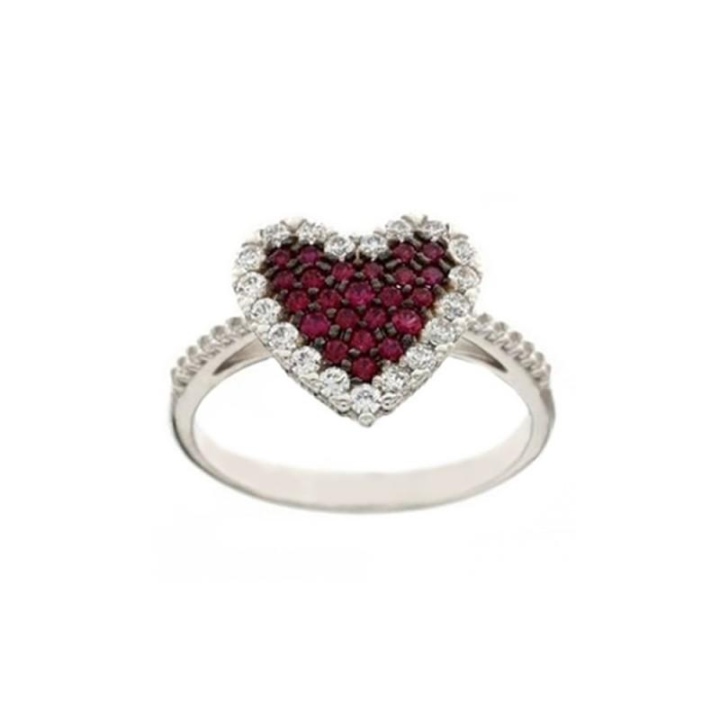 Anello in oro bianco 18 Kt con cuore e zirconi rossi e bianchi da donna