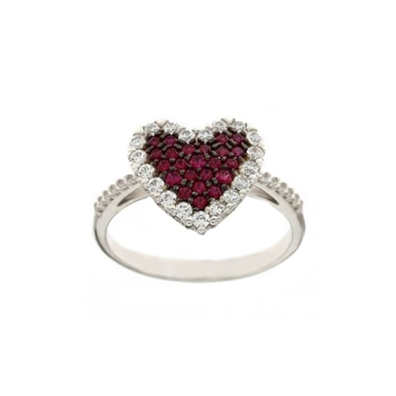 White gold 18k Heart with red and white cubic zirconia woman ring
