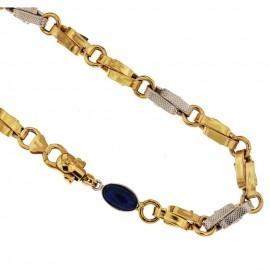 Collana in oro bianco e giallo 18 Kt 750/1000 a catena con pietra blu unisex
