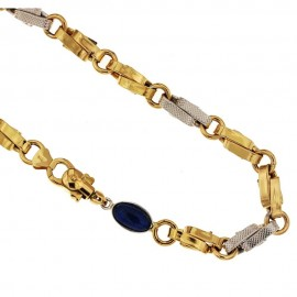 Yellow and white gold 18k Unisex link chain length 19.70 21gr