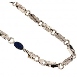 White gold 18kt 750/1000 link chain with blue stone unisex necklace