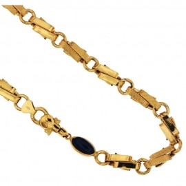 Collana in oro giallo 18 Kt 750/1000 a catena con pietra blu unisex