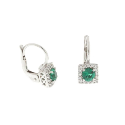 White gold 18k 750/1000 Green quartz and white cubic zirconia woman earrings