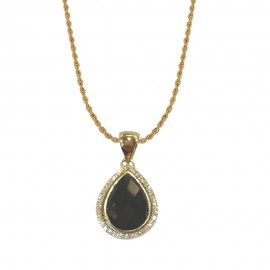 Yellow gold 18k 750/1000 black onyx and white cubic zirconia drop pendant woman necklace