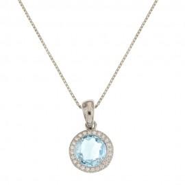 Collana in oro bianco 18k 750/1000 con pietra azzurra tonda da donna