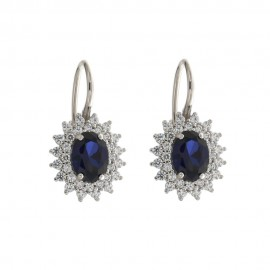 White gold 18kt 750/1000 with blue oval stone and white cubic zirconia woman earrings