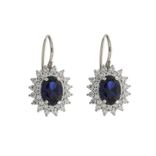 White gold 18k blue oval stone and white cubic zirconia woman earrings