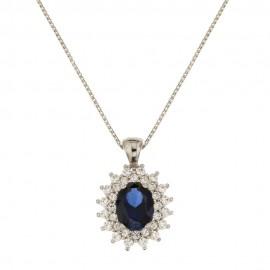 Collana in oro bianco 18 Kt 750/1000 con pietra ovale blu e zirconi bianchi