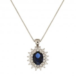 White gold 18k blue oval stone and white cubic zirconia woman necklace
