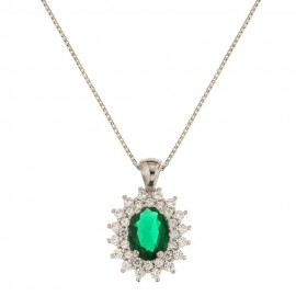 Collana in oro bianco 18 Kt 750/1000 con pietra ovale verde e zirconi bianchi