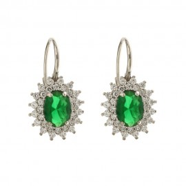 White gold 18k green oval stone and white cubic zirconia woman earrings