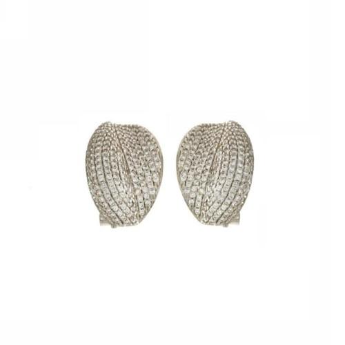 White gold 18k white cubic zirconia pavè woman earrings