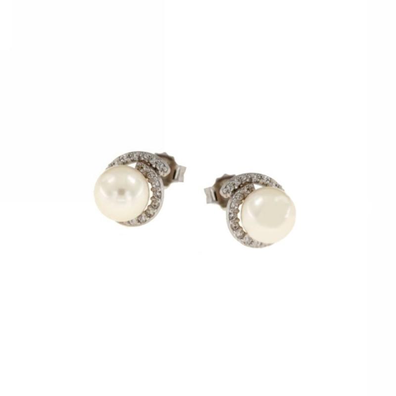 Orecchini in oro bianco 18 Kt 750/1000 con perle e zirconi da donna