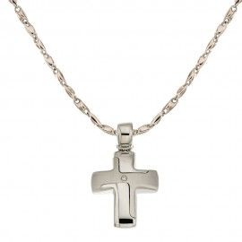 White gold 18kt 750/1000 cross pendant with diamond 0.10 Kt man necklace