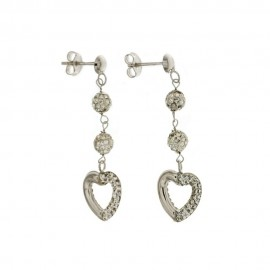 Gold 18k white cubic zirconia, dangling hearts woman earrings