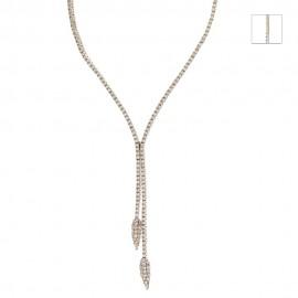 Girocollo Tennis in oro 18 Kt 750/1000 semirigido con zirconi bianchi da donna