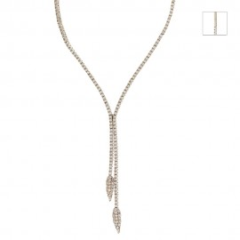 White gold 18k 750/1000 Tennis type white cubic zirconia wedding necklace