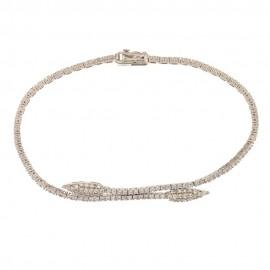 Bracciale in oro bianco 18 Kt 750/1000 semirigido con zirconi bianchi da donna