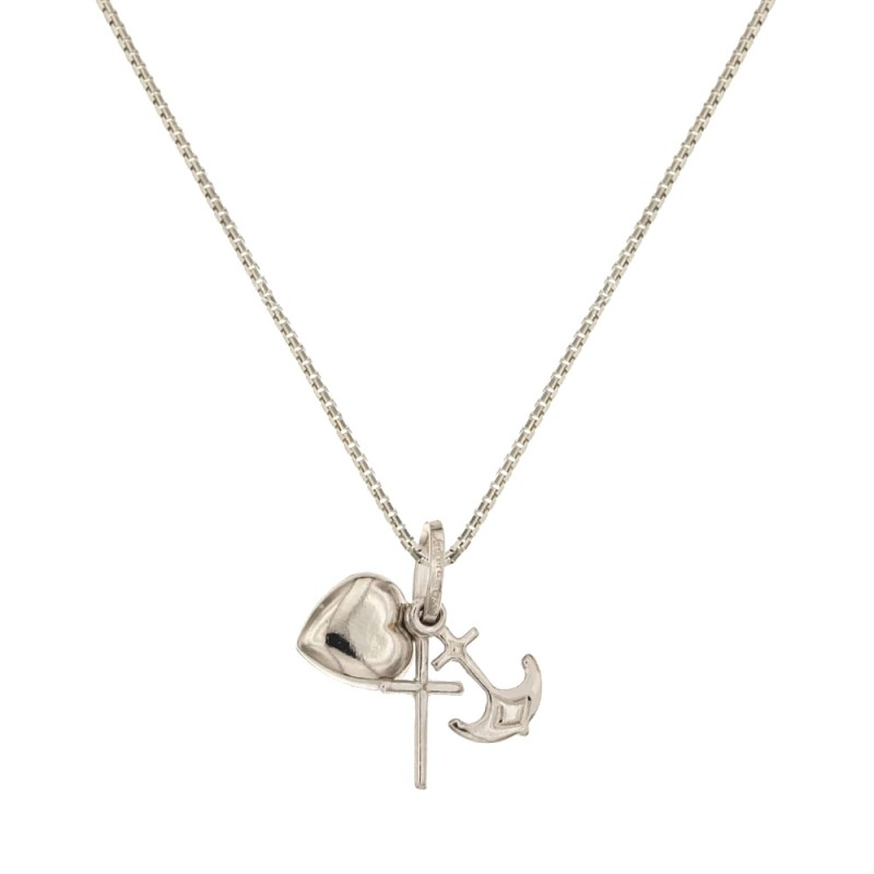 White gold 18k with Faith, Hope and Charity pendans woman necklace