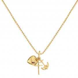 Yellow gold 18k with Faith, Hope and Charity pendans woman necklace